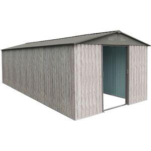 X-Metal Abri de jardin métal 13,6m² WoodTouch beige + kit d'ancrage X-METAL