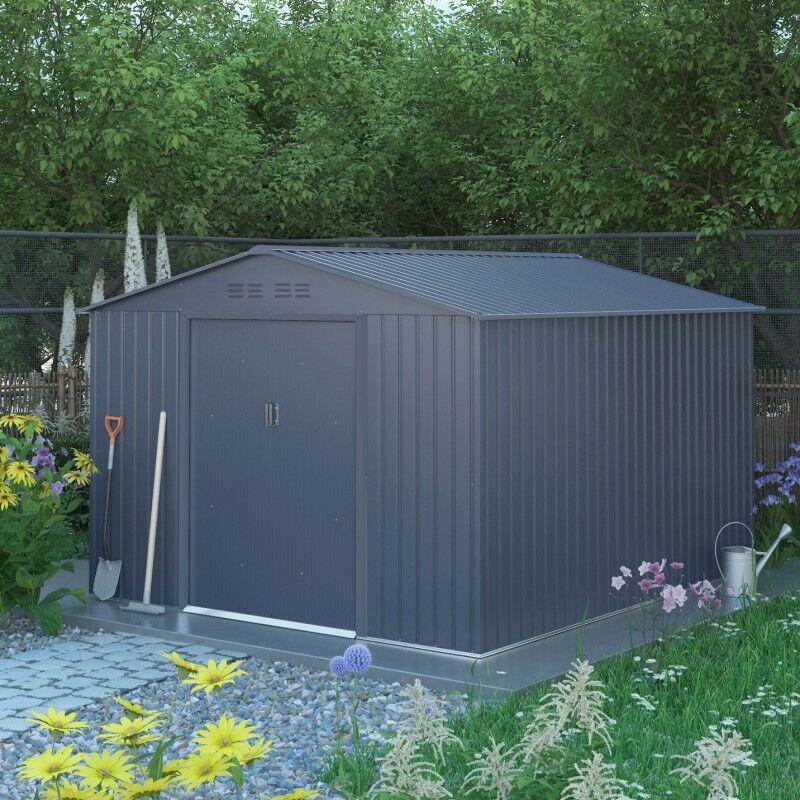 X-Metal Abri de jardin métal 8,84m² FIRST anthracite + kit d'ancrage X-METAL