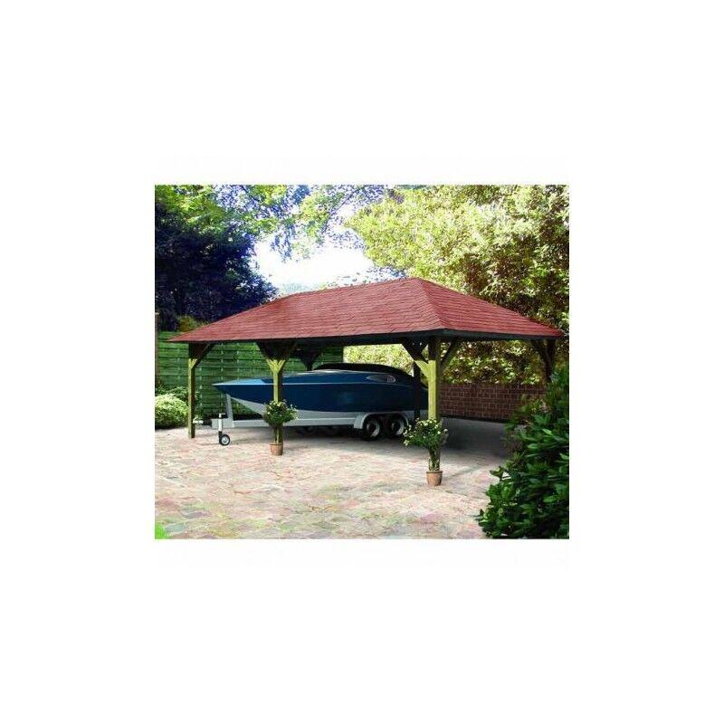 Karibu Pavillon rectangulaire en bois FSC Holm 2 - 7,78x4,31m Karibu