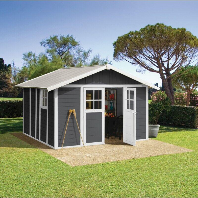 Grosfillex Abri de jardin en PVC 11,2m² DECO gris foncé et blanc Grosfillex + kit ancrage offert