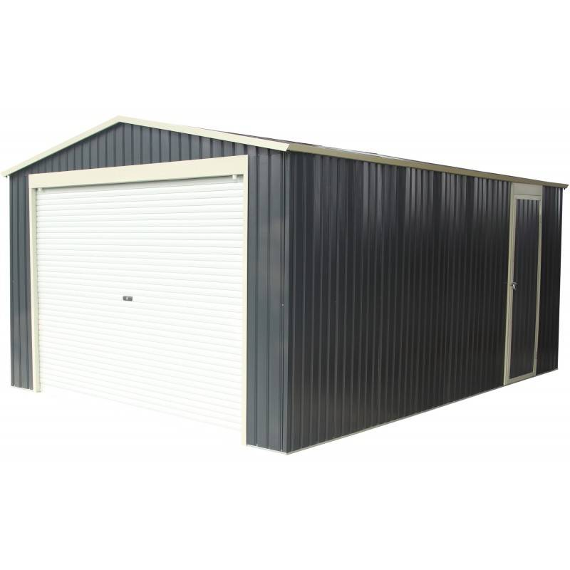 X-Metal Garage métal anthracite 17,31m² porte enroulable + kit d'ancrage X-METAL