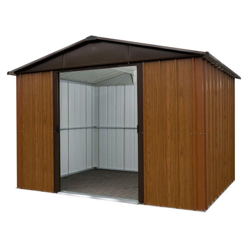 Yardmaster Abri de jardin métal aspect bois et marron 9,03m² + kit d'ancrage inclus - YARDMASTER