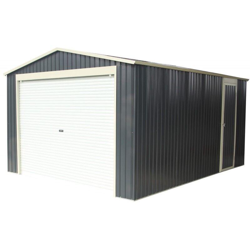 X-Metal Garage métal anthracite 15,14m² porte enroulable + kit d'ancrage X-METAL