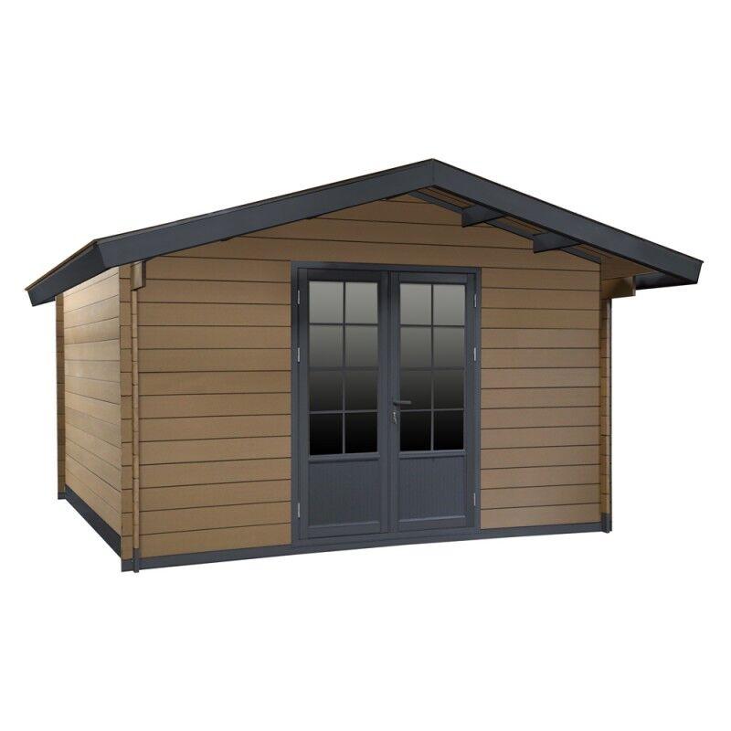 Woodlife Abri de jardin en bois composite 28mm bois vieilli 14,44m² double porte alu et double vitrage - WoodLife