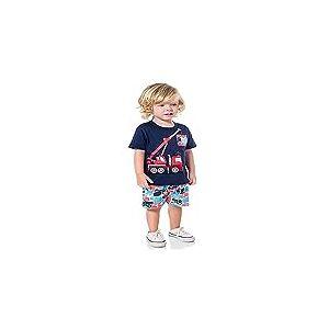 conjunto infantil menino camiseta manga curta com estampa de guindaste -2