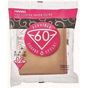 HARIO Filtro De Papel Natural Para Coador De Café V60, Tamanho 02, Pacote Com 100  0 Marrom