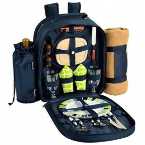 Picnic at Ascot Deluxe Equipped 2 Person Picnic Backpack with Blanket Navy/Trellis Green