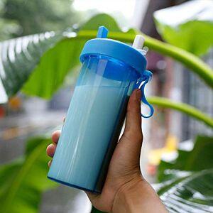 AB MIDIA Copo de 2 canudo duplo compartimento com tampa garrafa bebida quente fria 2 em 1 Azul