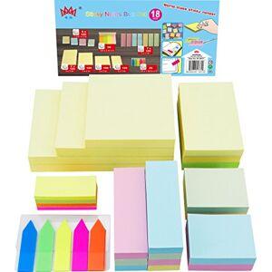 4A Pacote econmico com notas adesivas, sortido os tamanhos mais usados em uma caixa de polipropileno, notas autoadesivas, 18 blocos/caixa, 1900 folhas no total,  4012