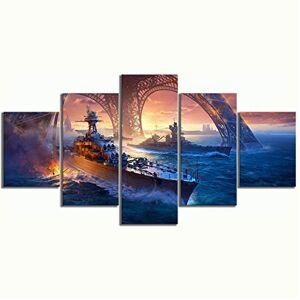 Nnngt Imprime Fotos Arte Da Parede Modular Poster 5 Painel Hd Pôr Do Sol Vista Para O Mar Cenário Pintura Em Tela Sala De Estar Decoração Emoldurado-10Cmx15/20/25Cm