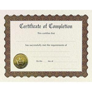 Great Papers! Certificado de reconhecimento pr-impresso, dourado e em relevo, 21,6 x 27,9 cm, 6 unidades, Completion