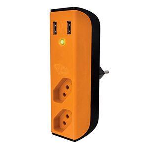 Enermax CARREGADOR USB  315020020200 2 USB 2 TOMADAS com FILTRO BEMLIGADO LARANJA