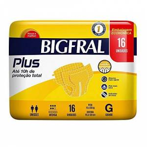 Bigfral Fralda Adulto  Plus, G, Econômica, 16 unidades