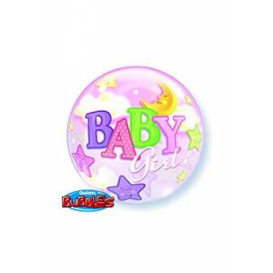 "QUALATEX BALAO BUBBLE TRANSPARENTE 22"" BABY GIRL LUA E ESTRELAS 56 CM"