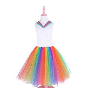 Toyvian Vestido tutu de gaze com gola arco-ris, saia sem mangas, cosplay de festa, apresentao, saia bolha para meninas festa festiva 90 cm (P)
