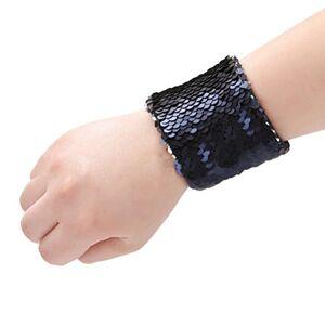 TINKSKY Pulseira de sereia  com pingentes reversveis e lantejoulas para pulseiras mgicas e calmantes para lembrancinhas de festa de aniversrio (azul marinho e prata)