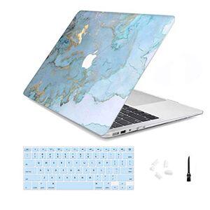 """Arike Capa para MacBook Air de 13 polegadas, capa rgida  Snap On fina com capa de teclado e suporte de plstico compatvel com MacBook Air de 13 polegadas, Blue Marble, Mac Pro 13"""" 2016-2019(A2159/A1989/A1706)"""