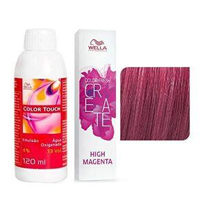 Wella Kit Oxigenada Color Touch 4% 13Vol 120Ml E Colorao Temporria Color Fresh Create High Magenta 60Ml