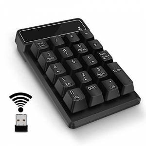 SVZIOOG Number Pad,Portable Mini USB 2.4GHz 19-Key Financial Accounting Numeric Keypad Keyboard Extensions for Data Entry in Excel for Laptop, PC, Desktop, Surface pro, Notebook, etc (Wireless Number Pad)