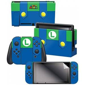"""Controller Gear Nintendo Switch Skin & Screen Protector Set, Officially Licensed By Nintendo Super Mario Evergreen """"Luigi's Outfit"""" Nintendo Switch"""