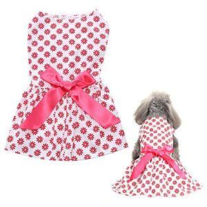 narutosak Acessórios para cães, Pet Dog Puppy Flower Print Bowtie Dress Roupa de festa macia Costume Skirt Skirt Apparel Branco + Vermelho M