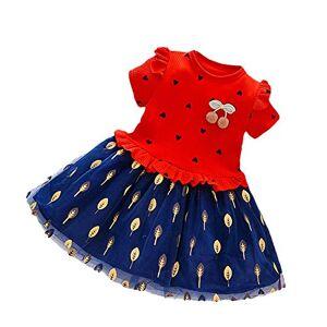 narutosak Vestidos para meninas da criança, Verão da criança do bebê Crianças Menina Manga curta Ruffled Heart Leaf Mesh Dress Clothes Vermelho XXXXXL