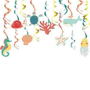 PTS Decorao em espiral de animais marinhos criativos, pendurados, com pingentes em espiral, adereos para fotos para festas infantis, 30 peas
