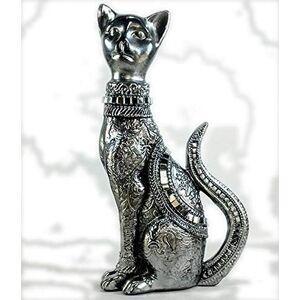 DecorPrata Imagem Estatueta Gato Em P lado Direito em gesso na cor prata  23cm