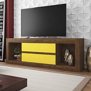 Siena Móveis Rack para TV até 55 Polegadas 2 Gavetas Dublin  Teka/Amarelo