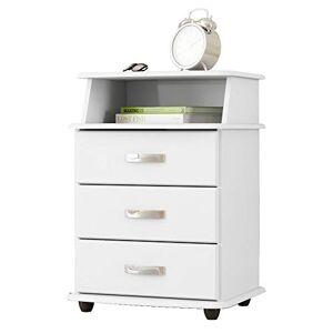 EJ Mveis Mesa de cabeceira 3 Gavetas Luxo  Branco