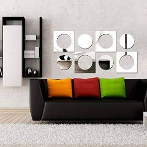 VINIKO Espelho Acrílico Decorativo Quadrados e Bolas
