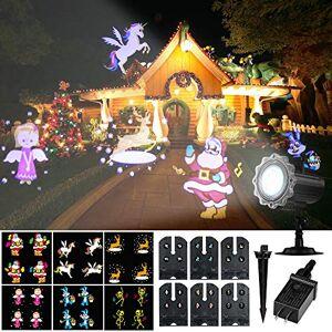 Decdeal Luz de projeção Projetor LED animado Luz de controle remoto Natal Halloween Luzes do projetor com 6 slides dinâmicos de animação para festa de férias Quintal Jardim EUA