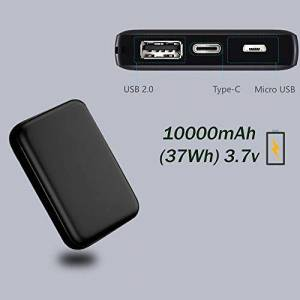 AB MIDIA Carregador Portatil 10000 mah Usb Micro USB Tipo C Bateria Celular Preto