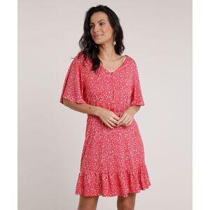 Vestido Feminino Curto Estampado Floral com Babado Manga Curta Vermelho  - Moda Feminina - Tamanho: Medium