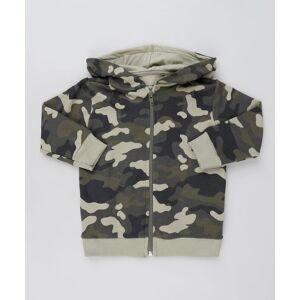 Blusão Infantil Estampado Camuflado em Moletom com Capuz Verde Militar  - Menino - Tamanho: 1,2,3,4