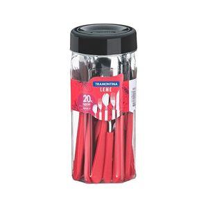 Faqueiro em Aço Inox Leme com 20 Peças Vermelho