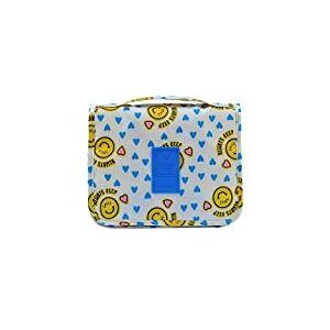 Bolsa de cosméticos para maquiagem Homyl Travel com grande armazenamento e gancho para pendurar – face amarela sorridente