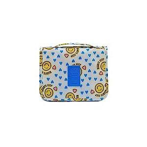 Bolsa de cosmticos para maquiagem Homyl Travel com grande armazenamento e gancho para pendurar  face amarela sorridente