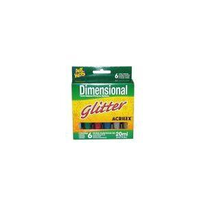 Tinta Dimensional Glitt 20Ml 6 Cores 12206 Acrilex