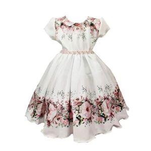 Vestido De Festa Infantil Floral Com Prolas Giovanella Feminino - Feminino  - Bege