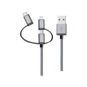Cabo 3 em 1 Lightning Micro USB e USB-C Geonav LMC31GR - Unissex  - Preto