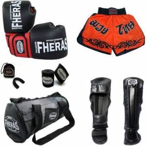 Kit Muay Thai Luva Bandagem Bucal Caneleira Bolsa Shorts 08 OZ - Unissex  - Preto+Vermelho