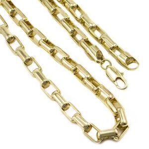 Conjunto Tudo Joias Pulseira Com Corrente Elo Cartier Folheado A Ouro 18K - Masculino-Dourado