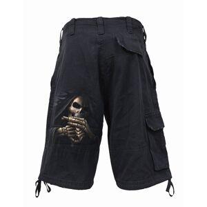 Spiral Bone Finger Vintage Cargo Shorts Black