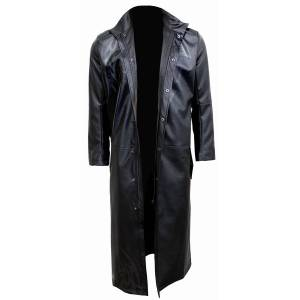 Spiral Death Bones Gothic Trench Coat Pu-Leather With Full Zip