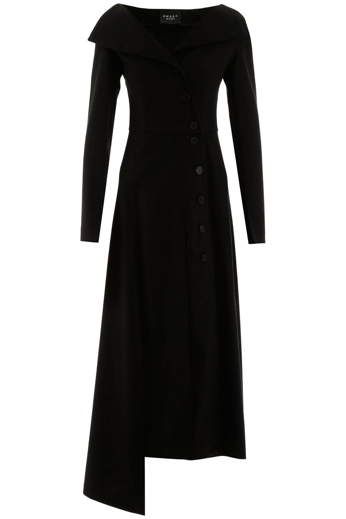 A.W.A.K.E. MODE BUTTONED DRESS 38 Black Cotton