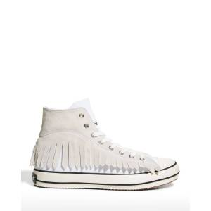 Palm Men's Fringe Knit Sock High-Top Sneakers  - WHITE - Size: 46 EU (13D US)