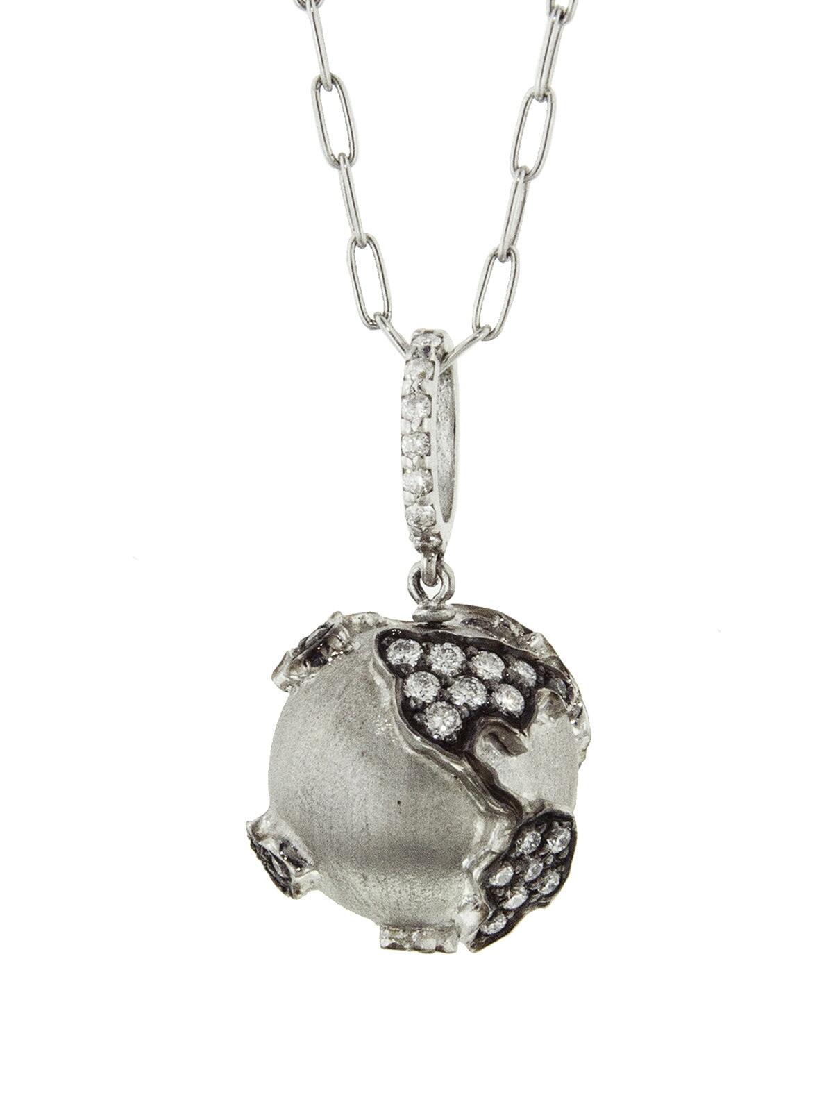 SHARON KHAZZAM Diamond World Globe White Gold Necklace