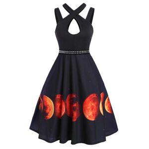 Dresslily Halloween Moon Print Rivet Keyhole Sleeveless Dress