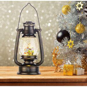 infactory Deko-LED-Laterne im Öllampen-Look, mit Schneewirbel und Weihnachtsmann